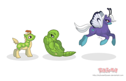 Size: 3700x2388 | Tagged: safe, artist:almairis, butterfly pony, butterfree, caterpie, metapod, butterfly wings, colt, curled up, evolution chart, family, female, foal, male, mare, mother and son, pokémon, ponified, ponymon, simple background, socks (coat marking), stallion, transparent background, trio