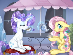 Size: 1200x910 | Tagged: safe, artist:ambunny, fluttershy, rarity, crystal pony, pegasus, pony, unicorn, alternate hairstyle, blushing, cafe, cafeteria, crystal empire, crystal rarity, crystallized, cup, digital art, duo, duo female, eyes closed, female, floppy ears, flower, flower in hair, hoof hold, looking at you, magic, mare, pillow, scenery, signature, sipping, sitting, smiling, sparkles, tea, teacup, teapot, telekinesis