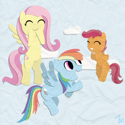 Size: 2000x2000 | Tagged: safe, artist:zoeezoee, fluttershy, rainbow dash, scootaloo, papercraft, scootaloo can fly