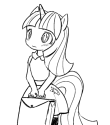 Size: 735x836 | Tagged: artist needed, source needed, safe, twilight sparkle, anthro, ambiguous facial structure, monochrome, sketch, solo