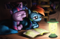Size: 2500x1613 | Tagged: artist:neko-me, book, golden oaks library, lantern, magic, night, rainbow dash, reading, safe, twilight sparkle, yawn