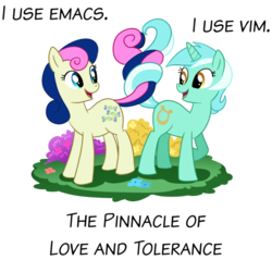Size: 900x860 | Tagged: safe, artist:madmax, edit, bon bon, lyra heartstrings, sweetie drops, earth pony, pony, unicorn, best friends, emacs, female, intertwined tails, lesbian, linux, lyrabon, shipping, simple background, transparent background, vim