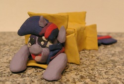 Size: 1055x723 | Tagged: safe, artist:vampairious-kun, twilight sparkle, box, cute, figure, irl, model, photo, plasticine, sculpture, sliding ponies