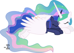 Size: 8810x6330   Tagged: safe, artist:90sigma, princess celestia, princess luna, absurd resolution, cute, royal sisters, simple background, sleeping, snuggling, transparent background, vector, wing blanket, winghug