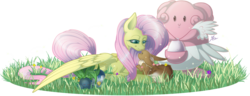 Size: 1532x588 | Tagged: safe, artist:ruaniamh, fluttershy, blissey, eevee, firefly (insect), oddish, piplup, c:, crossover, cute, eyes closed, grass, hug, lidded eyes, pokémon, prone, simple background, sleeping, smiling, transparent background, winghug