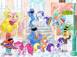 Size: 771x569 | Tagged: safe, artist:hirake! pony key, applejack, fluttershy, pinkie pie, rainbow dash, rarity, twilight sparkle, applejack's hat, argument, bert, big bird, book, cobblestone street, cookie monster, crossover, ernie, grover, hat, jelly beans, jellybeans, lamppost, my little pony meets sesame street, oscar the grouch, reading, sesame street, sharing, street sign