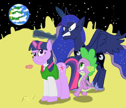 Size: 1024x872 | Tagged: safe, artist:kinrah, princess luna, spike, twilight sparkle, alicorn, dragon, pony, unicorn, a grand day out, cheese, moon, sweater vest, this will end in pain, wallace and gromit