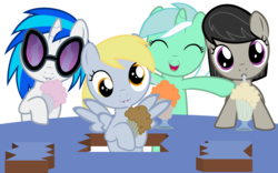 Size: 4320x2700 | Tagged: safe, artist:beavernator, derpy hooves, dj pon-3, lyra heartstrings, octavia melody, vinyl scratch, absurd resolution, cute, derpabetes, female, filly, filly derpy, filly lyra, filly vinyl scratch, milkshake, milkshake ponies