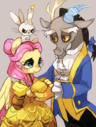 Size: 594x784 | Tagged: angel bunny, artist:suikuzu, beauty and the beast, candle, discord, discoshy, disney, female, fluttershy, keep calm and flutter on, male, movie reference, parody, safe, shipping, straight