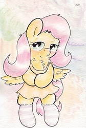 Size: 725x1082 | Tagged: safe, artist:slightlyshade, fluttershy, clothes, dress, female, socks, solo, striped socks, traditional art