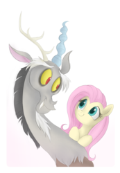 Size: 694x1004 | Tagged: artist:mn27, discord, discoshy, female, fluttershy, keep calm and flutter on, male, safe, shipping, straight
