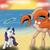 Size: 1600x1600   Tagged: safe, artist:thexiiilightning, rarity, giant crab, krabby, pony, unicorn, beach, crossover, duo, female, fight, magic, magic aura, mare, meme origin, pokémon, rarity fighting a giant crab, spear, sunset, telekinesis, weapon