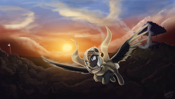 Size: 2000x1133 | Tagged: artist:rublegun, cloud, cloudy, flying, oc, oc only, pegasus, pony, safe, scenery, sunrise, sunset