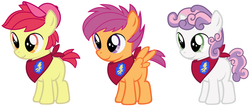 Size: 1600x683   Tagged: safe, artist:evilfrenzy, apple bloom, scootaloo, sweetie belle, earth pony, pegasus, pony, unicorn, applebuck, bandana, baseball cap, cap, colt, cutie mark crusaders, hat, male, rule 63, scooteroll, silver bell, simple background, sweepy bell, white background