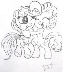 Size: 1957x2246 | Tagged: safe, artist:aleximusprime, pinkie pie, rainbow dash, chibi, color me, cute, hug, lineart