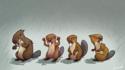 Size: 1920x1080 | Tagged: safe, artist:ponchuzn, mr. beaverton beaverteeth, beaver, keep calm and flutter on, animal, discorded, evil, gray background, red eyes, simple background, wallpaper