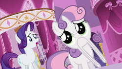 Size: 1280x720 | Tagged: safe, artist:dtkraus, edit, screencap, rarity, sweetie belle, wat