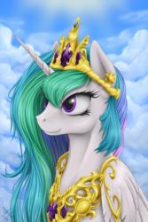 Size: 900x1350   Tagged: safe, artist:1jaz, princess celestia, alicorn, pony, bust, cloud, female, jewelry, mare, peytral, portrait, regalia, smiling, solo