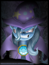 Size: 696x932 | Tagged: artist:primogenitor34, cape, clothes, dark, evil grin, hat, safe, silhouette, trixie, wizard hat