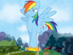 Size: 1000x750 | Tagged: safe, rainbow dash, pegasus, pony, apple, crushing, destruction, female, fire, food, giant pony, giant rainbow dash, giantess, hooves, macro, mare, ponyville, rainbow smash, solo, stomping