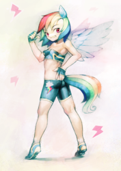 Size: 900x1273 | Tagged: safe, artist:aruurara, rainbow dash, armpits, clothes, eared humanization, fingerless gloves, gloves, humanized, pixiv, solo, tailed humanization, winged humanization
