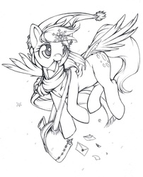 Size: 617x762 | Tagged: safe, artist:longinius, derpy hooves, pegasus, pony, female, grayscale, hat, lineart, mail, mare, monochrome, santa hat, snow, snowflake, underp