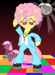 Size: 1759x2388 | Tagged: safe, artist:grandpalove, cheerilee, discord, fluttershy, pony, 70s, 80s, 80s cheerilee, :o, afro, alternate hairstyle, bipedal, clothes, dancing, disco, disco ball, eyes closed, fashion, female, high heels, male, open mouth, platform heels, pun, shoes, smiling, sunglasses, wide eyes