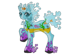 Size: 640x480 | Tagged: aquarium, artist:fauxydingo92, elemental, fish, goo pony, original species, ponified, safe, simple background, solo, transparent background, water, water elemental, water pony