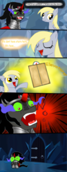 Size: 622x1600 | Tagged: comic, derpy hooves, elevator, female, greatest fear, king sombra, mare, pegasus, pony, safe, that pony sure does love stairs