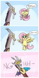Size: 550x1080 | Tagged: safe, artist:keterok, discord, fluttershy, draconequus, pegasus, pony, bipedal, blushing, comic, cute, dialogue, discoshy, discute, female, frown, gritted teeth, heart attack, hiding, hnnng, male, mare, open mouth, peekaboo, shipping, shyabetes, smiling, straight, wide eyes, wing hands