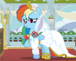 Size: 1280x1024 | Tagged: safe, artist:facelessjr, rainbow dash, pegasus, pony, bouquet, bride, clothes, dress, female, happy, happy days, hoof ring, looking at you, mare, marriage, pov, rainbow dash always dresses in style, ring, solo, tears of joy, wedding, wedding dress, wedding ring