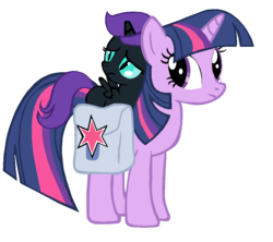 Size: 1101x979 | Tagged: safe, artist:bronyboy, twilight sparkle, oc, oc:nyx, alicorn, pony, unicorn, fanfic:past sins, alicorn oc, duo, fanfic art, female, filly, foal, horn, mare, nyx riding twilight, ponies riding ponies, riding, saddle bag, slit pupils, unicorn twilight, wings