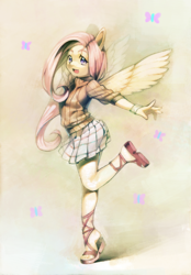 Size: 900x1293 | Tagged: safe, artist:aruurara, fluttershy, anthro, plantigrade anthro, clothes, cute, feet, happy, sandals, skirt, solo, sweater, sweatershy