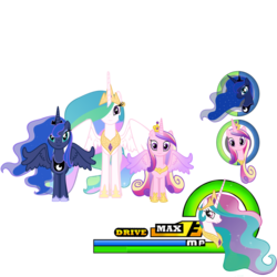 Size: 1024x1024 | Tagged: artist:artmagetommy, crossover, kingdom hearts, princess cadance, princess celestia, princess luna, safe, simple background, transparent background, vector