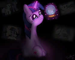 Size: 2500x2000 | Tagged: artist:twojapacha, canterlot, crying, night light, princess celestia, safe, snow globe, twilight sparkle, twilight velvet