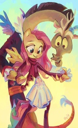 Size: 2095x3448 | Tagged: safe, artist:holivi, discord, fluttershy, anthro, breasts, clothes, cute, delicious flat chest, discoshy, female, flattershy, high res, ice skating, male, shipping, skirt, straight