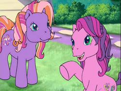 Size: 640x480 | Tagged: safe, screencap, skywishes, twinkle twirl, earth pony, pony, friends are never far away, cute, g3, open mouth, pointing, sitting, smiling