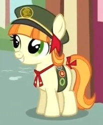 Size: 263x320 | Tagged: safe, screencap, tag-a-long, just for sidekicks, cropped, filly guides, grin, smiling, solo, thin mint