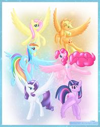 Size: 10400x13100   Tagged: safe, artist:haltie, applejack, fluttershy, pinkie pie, rainbow dash, rarity, twilight sparkle, alicorn, pony, absurd resolution, alicornified, applecorn, everyone is an alicorn, female, fluttercorn, flying, mane six, mane six alicorns, mare, pinkiecorn, plot, race swap, rainbowcorn, raricorn, spread wings, twilight sparkle (alicorn), wings, xk-class end-of-the-world scenario