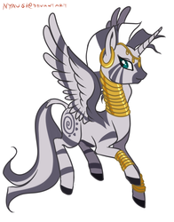 Size: 627x800 | Tagged: alicorn, alicornified, artist:vertizontal, race swap, safe, simple background, solo, zebra, zebra alicorn, zebracorn, zecora, zecoracorn