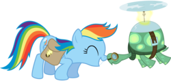 Size: 8191x3896 | Tagged: safe, artist:thatguy1945, rainbow dash, tank, just for sidekicks, absurd resolution, nuzzling, simple background, snuggling, transparent background, vector