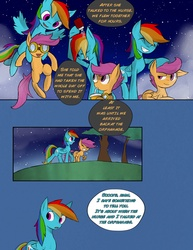 Size: 2511x3245 | Tagged: safe, artist:juanrock, rainbow dash, scootaloo, pegasus, pony, comic:element of loyalty, carrying, cloud, comic, cute, cutealoo, drinking, eyes closed, female, filly, flying, frown, goggles, grin, holding a pony, leaning, looking back, mare, night, open mouth, prone, raised eyebrow, raised hoof, scootalove, sky, smiling, smirk, spread wings, squee, stars, straw, water bottle, wings
