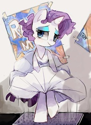 Size: 855x1166 | Tagged: safe, artist:suikuzu, rarity, alternate hairstyle, clothes, dress, marilyn monroe, movie reference, skirt blow, solo, the seven year itch, wind