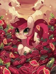 Size: 867x1134 | Tagged: dead source, safe, artist:suikuzu, roseluck, earth pony, pony, beautiful, female, flower, mare, rose, rose petals, signature, solo
