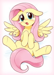 Size: 752x1031 | Tagged: dead source, safe, artist:azuharu, fluttershy, pony, adorasexy, blushing, body pillow, body pillow design, crying, cute, female, floppy ears, looking at you, on back, pixiv, sexy, shyabetes, solo, spread legs, strategically covered, tail censor