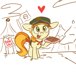 Size: 1000x1000 | Tagged: safe, artist:ponygoggles, tag-a-long, charity, cookie, cute, female, filly guides, food, heart, open mouth, smiling, solo, thin mint