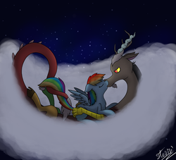 Size: 1884x1711   Tagged: safe, artist:vigilantefreak, discord, rainbow dash, crack shipping, discodash, female, intertwined tails, kissing, male, shipping, straight