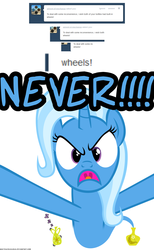 Size: 1050x1700 | Tagged: safe, artist:navitaserussirus, trixie, asktwixiegenies, angry, cute, diatrixes, madorable, tumblr, wheel, wheels trixie