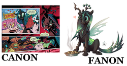 Size: 1327x695 | Tagged: safe, artist:lanmana, queen chrysalis, changeling, idw, the return of queen chrysalis, spoiler:comic, canon, comparison, cute, cute citizens of wuvy-dovey land, cutealis, draco in leather pants, fanon, meta, pie, text, wovey dovey land