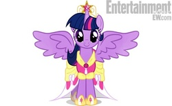 Size: 510x317 | Tagged: alicorn, alicorn drama, entertainment weekly, looking at you, magical mystery cure, pony, pony history, safe, smiling, solo, spread wings, twilight sparkle, twilight sparkle (alicorn)
